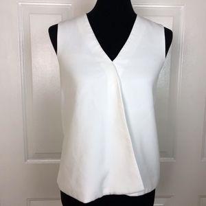 Trina Turk Women's White V-neck Sleeveless Blouse